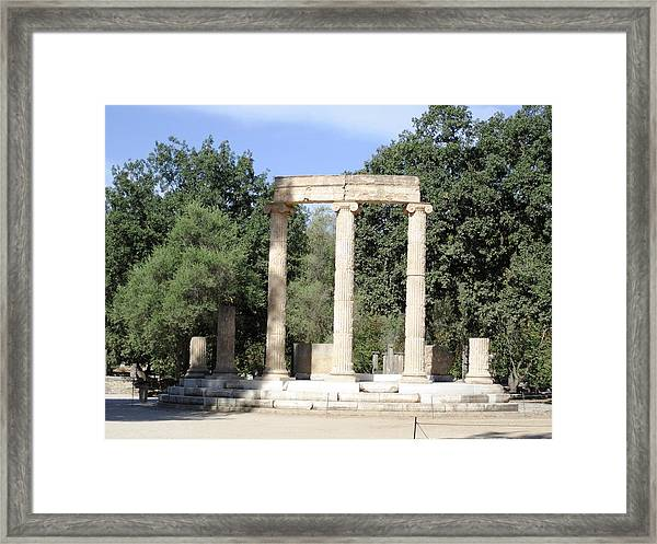 Temple Of Zeus Ancient Ruins In Olympia Greece Framed Print