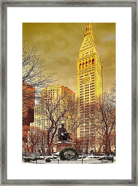 Ten Past Four At Madison Square Park Framed Print
