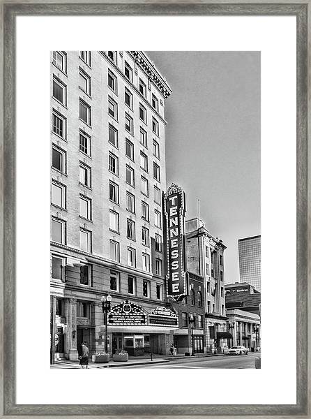 Tennessee Theatre Marquee Building Black And White Framed Print