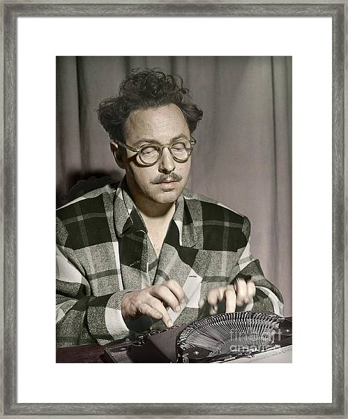 Tennessee Williams At His Typewriter Framed Print