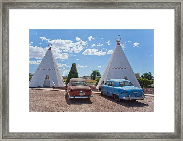 Tepee With Old Cars Framed Print