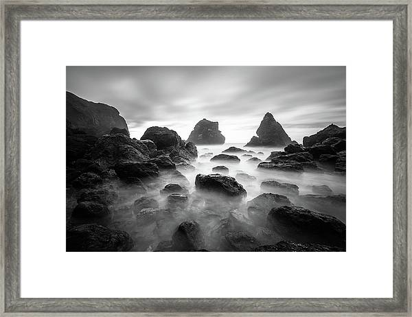 Tepona Point In Black And White Framed Print