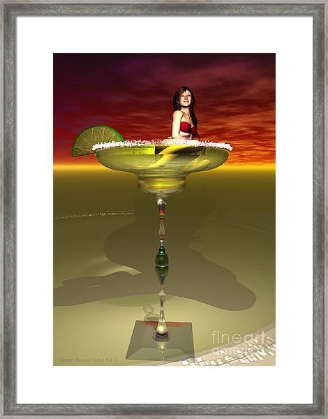 Framed Print featuring the digital art Tequila Sunrise by Sandra Bauser Digital Art