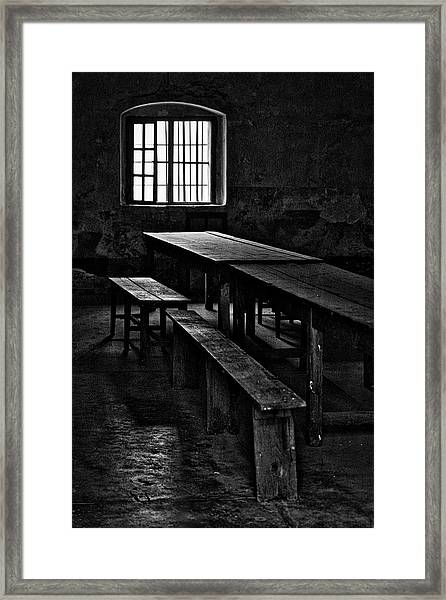 Terezin Tables, Benches And Window Framed Print
