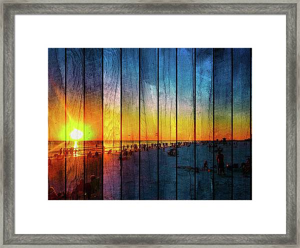 Siesta Key Drum Circle Sunset - Wood Plank Look Framed Print