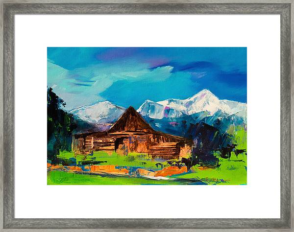 Framed Print featuring the painting Teton Barn  by Elise Palmigiani