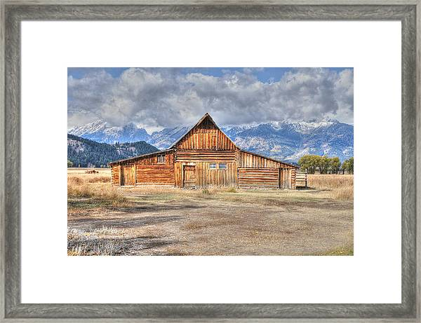 Framed Print featuring the photograph Teton Barn Front View by David Armstrong