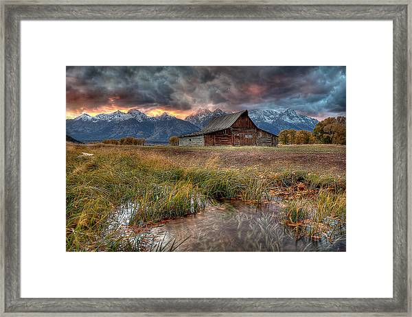 Teton Nightfire At The Ta Moulton Barn Framed Print