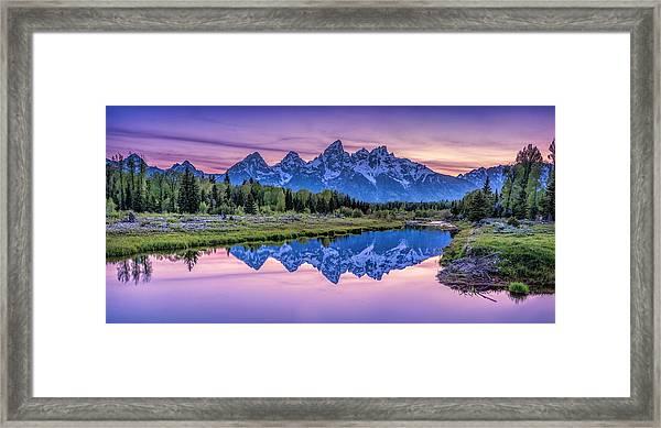 Sunset Teton Reflection Framed Print