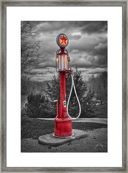 Framed Print featuring the photograph Texaco Gas Pump by Williams-Cairns Photography LLC