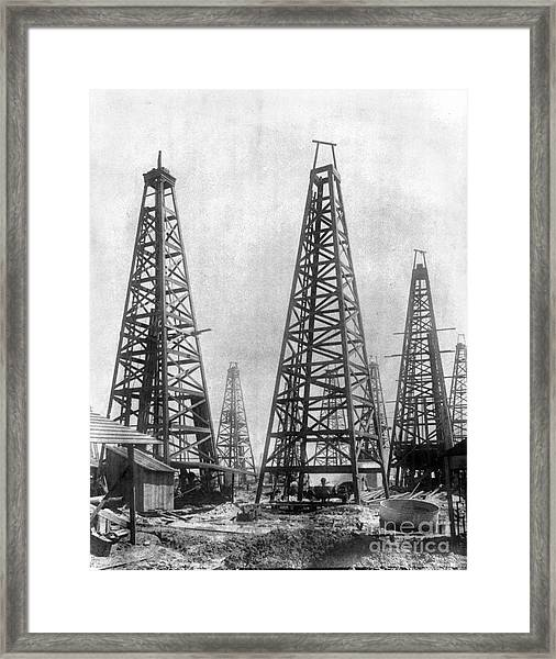 Texas: Oil Derricks, C1901 Framed Print