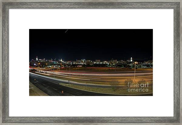 Texas University Tower And Downtown Austin Skyline From Ih35 Framed Print