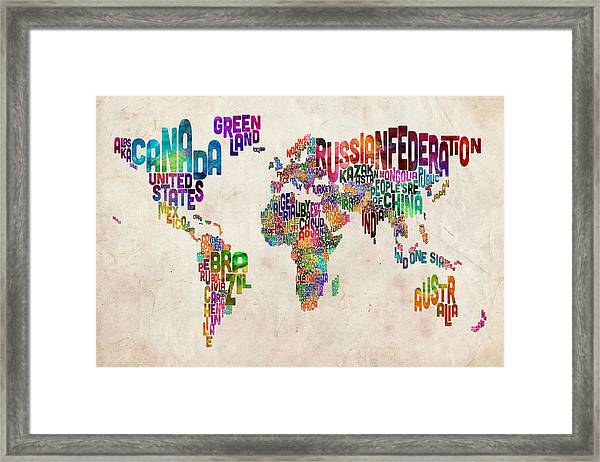 Text Map Of The World Framed Print