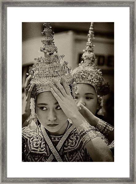Thai Dancers Preparing Framed Print