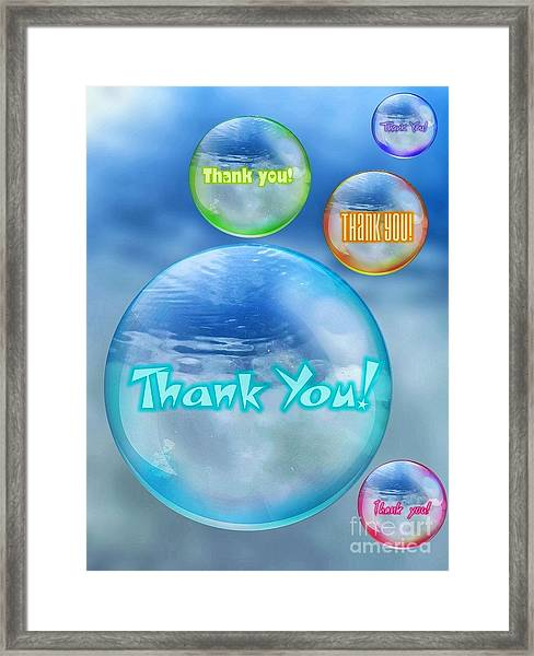 Thank You Bubbles Framed Print