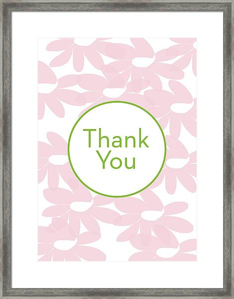 Thank You Card Pink Flowers- Art By Linda Woods Framed Print