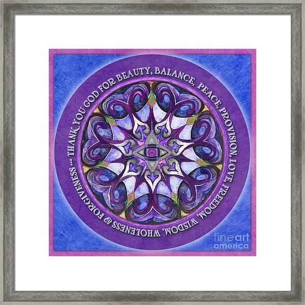 Thank You God Mandala Prayer Framed Print