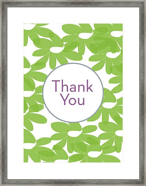 Thank You Green Flowers- Art By Linda Woods Framed Print