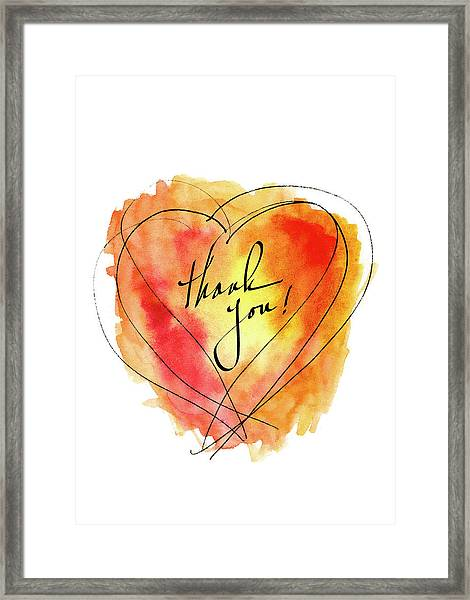 Thank You Notecard Red Orange Watercolor Heart Framed Print