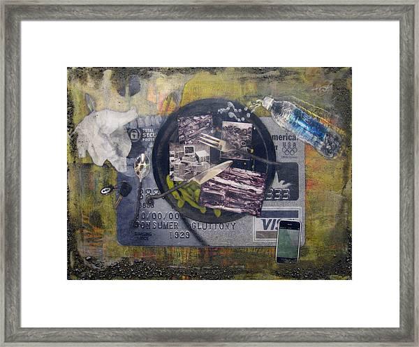 the 7 contemporary sins - Gluttony Framed Print