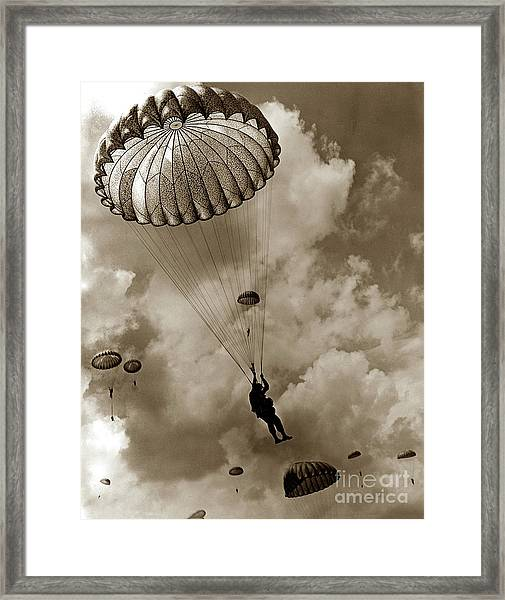 The 82nd Airborne  Hits The Silk Fort Ord 1953 Framed Print