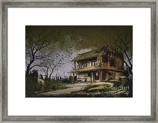 Framed Print featuring the painting The Abandoned House by Tithi Luadthong