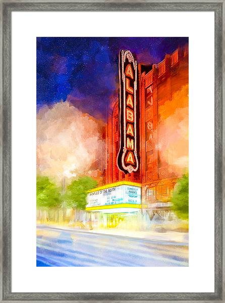 The Alabama Theatre By Night Framed Print