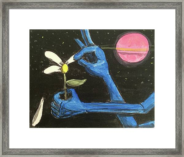 The Alien Loves Me... The Alien Loves Me Not Framed Print
