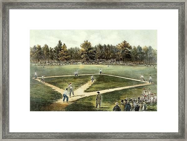 The American National Game Of Baseball Grand Match At Elysian Fields Framed Print
