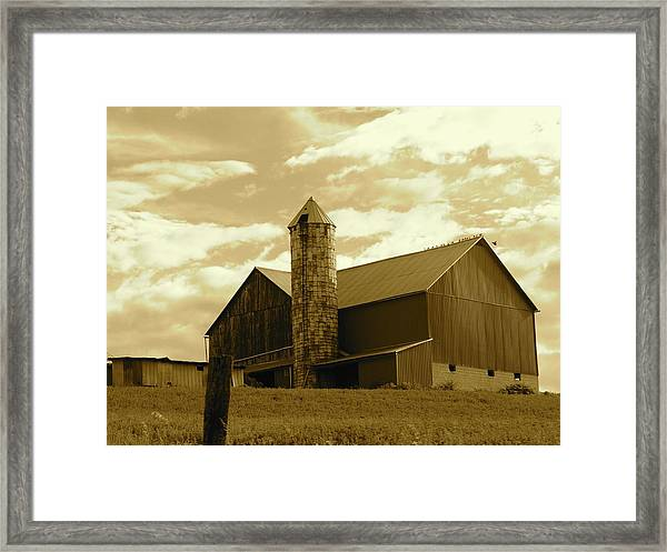 The Amish Silo Barn Framed Print