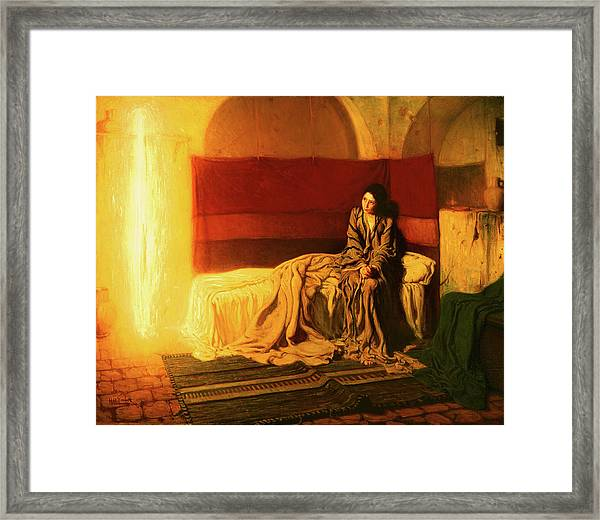 Framed Print featuring the painting The Annunciation by Henry Ossawa Tanner