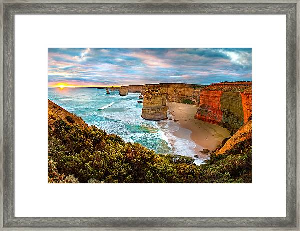 The Apostles Sunset Framed Print