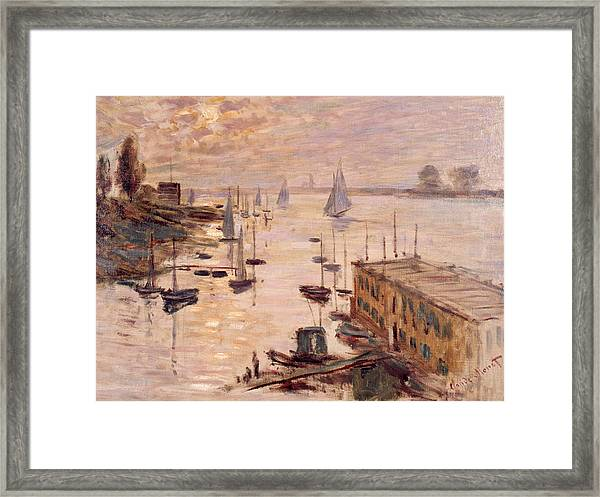 The Argenteuil Basin Seen From The Road Bridge Framed Print