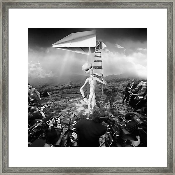 The Arrival Black And White Framed Print