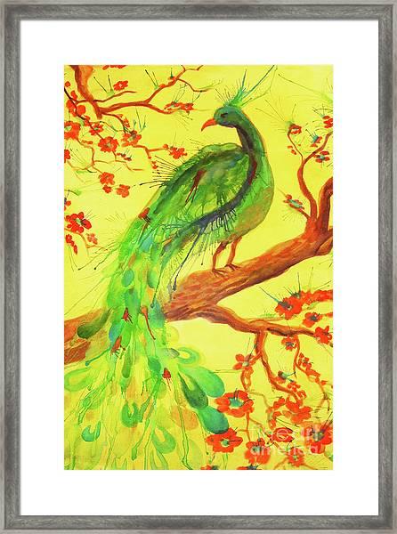 The Auspicious Peacock Framed Print