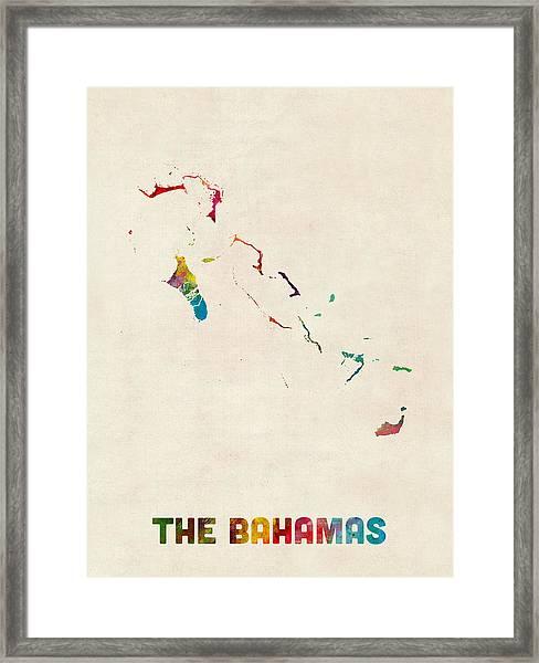 The Bahamas Watercolor Map Framed Print