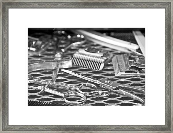 The Barber Shop 10 Bw Framed Print