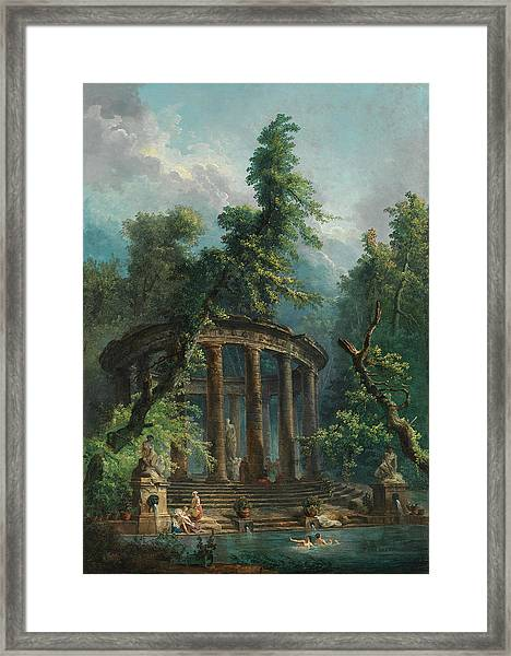 Framed Print featuring the painting The Bathing Pool by Hubert Robert