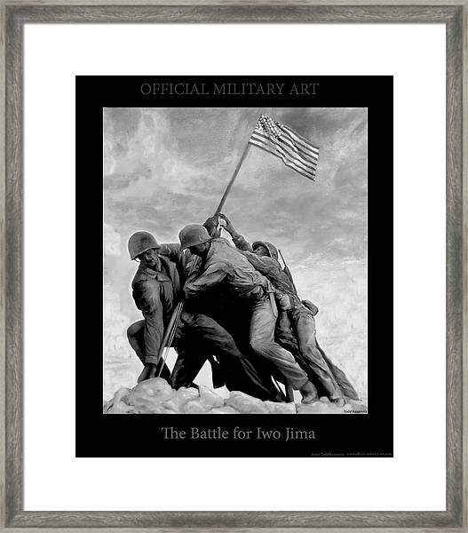 The Battle For Iwo Jima By Todd Krasovetz Framed Print