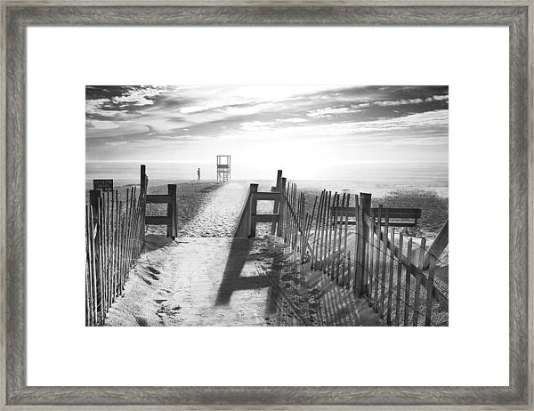 The Beach In Black And White Framed Print