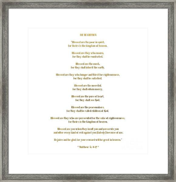 The Beatitudes Gospel Of Matthew Framed Print
