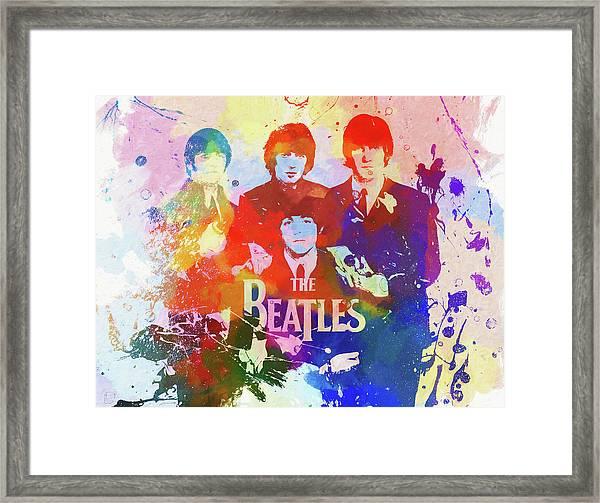The Beatles Paint Splatter  Framed Print