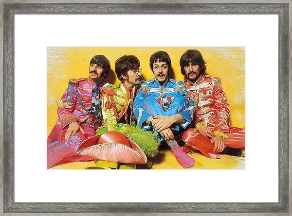 The Beatles Sgt. Pepper's Lonely Hearts Club Band Painting 1967 Color Framed Print