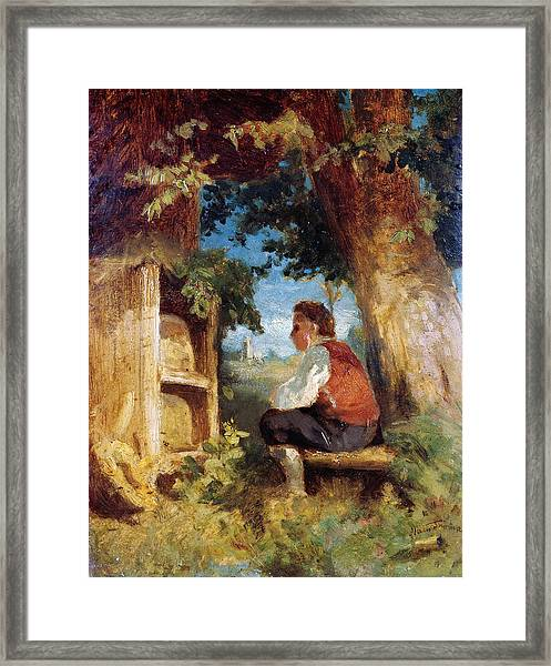 Framed Print featuring the painting The Bee Friend by Hans Thoma