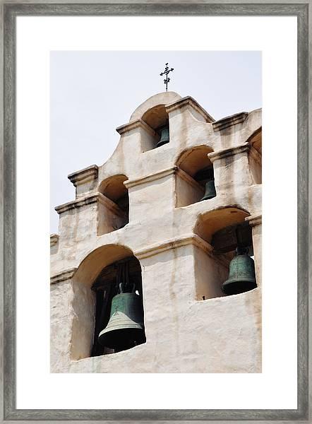 The Bells Of Mission San Gabriel Arcangel Portrait Framed Print