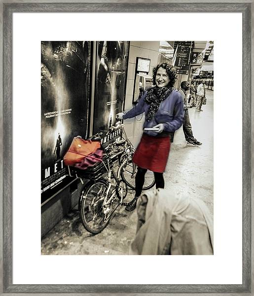 The Bicycle Girl Framed Print