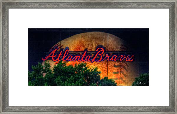The Big Ball Atlanta Braves Baseball Signage Art Framed Print