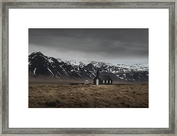 The Black Church, Iceland In Moody Weather Framed Print