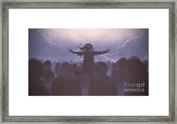 Framed Print featuring the painting The Black Wizard by Tithi Luadthong