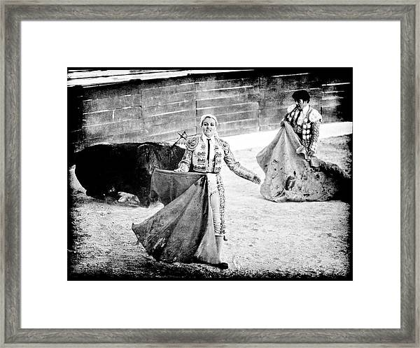 The Blond, The Bull And The Coup De Gras Bullfight Framed Print